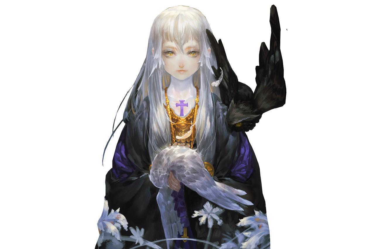 Фото обои девушка, крест, совы, филин, by miinjae, gotic character