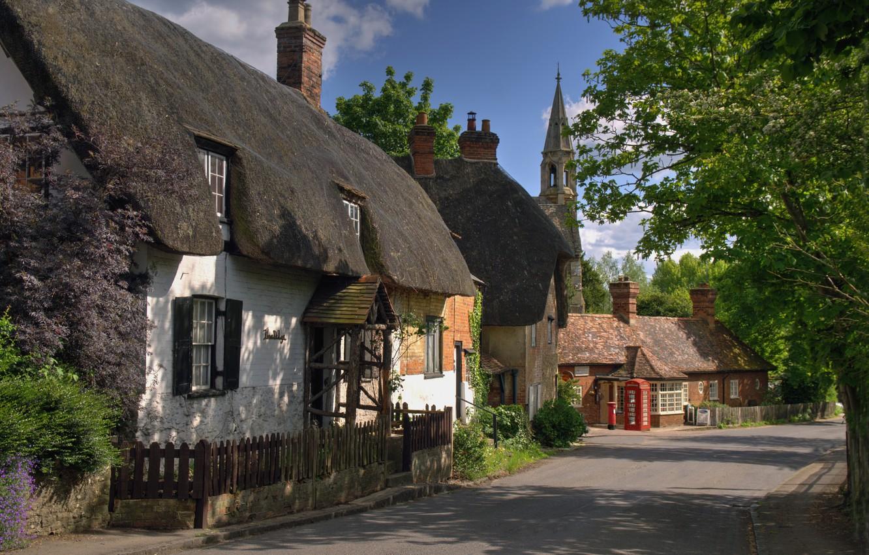 Фото обои улица, село, дома, Великобритания, Оксфордшир, Клифтон Хампден, Clifton Hampden