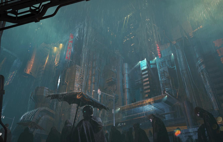 Фото обои city, dark, fantasy, rain, umbrella, science fiction, people, sci-fi, artist, artwork, building, fantasy art, futuristic …