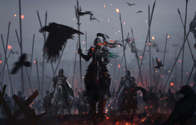 Фото обои Доспехи, Воин, Искры, Битва, Демон, Fantasy, Арт, Art, Рыцарь, Фантастика, Атака, Копья, Storytelling, by Xingyan ...