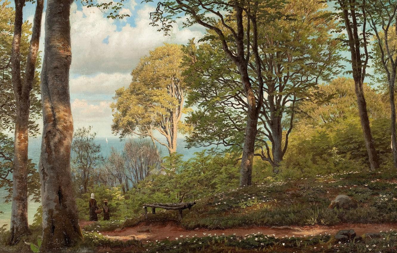 Фото обои датский живописец, Петер Мёрк Мёнстед, Peder Mørk Mønsted, Danish realist painter, 1879, oil on canvas, …