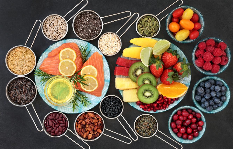 Фото обои ягоды, лимон, еда, рыба, Помидоры, фрукты, Малина, специи, ассорти, Лимоны