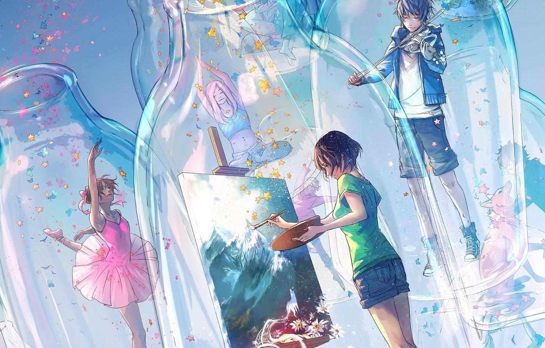Фото обои стекло, бабочки, шорты, звёздочки, бутылки, балерина, скрипач, художница, воображение, поза лотоса, мольберт, мальчик с собакой, …