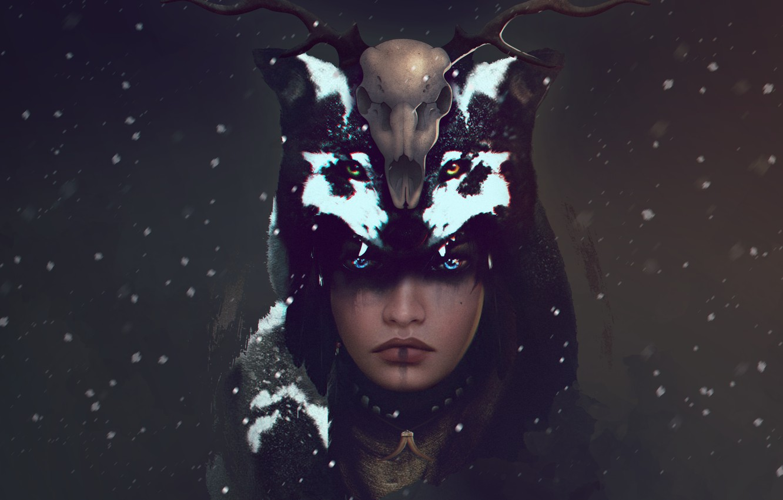 Фото обои взгляд, девушка, снег, череп, волк, олень, арт, рога, шаман