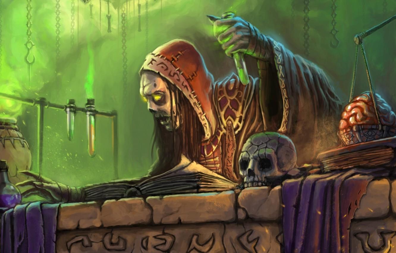 Фото обои skull, fantasy, magic, undead, poison, book, artwork, brain, wizard, fantasy art, Sorcerer, test tubes, weight …