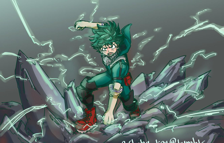 Фото обои арт, парень, My Hero Academia, Boku No Hero Academia, Мидория Изуку, Моя Геройская Академия