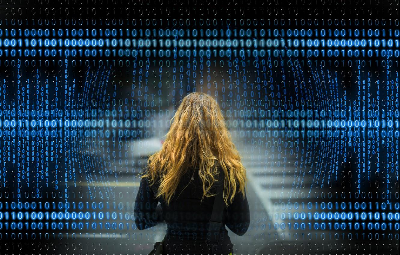 Фото обои девушка, фон, волосы, двоичный код
