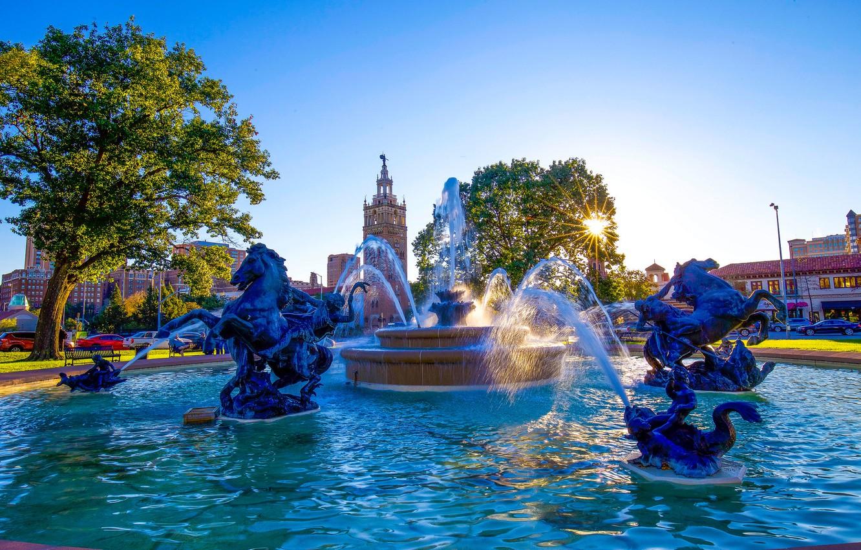 Обои missouri, kansas city, country club plaza, Jc nichols memorial fountain, канзас-сити. Города foto 7