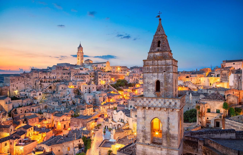 Фото обои здания, башня, дома, Италия, Italy, Matera, Базиликата, Матера, Basilicata