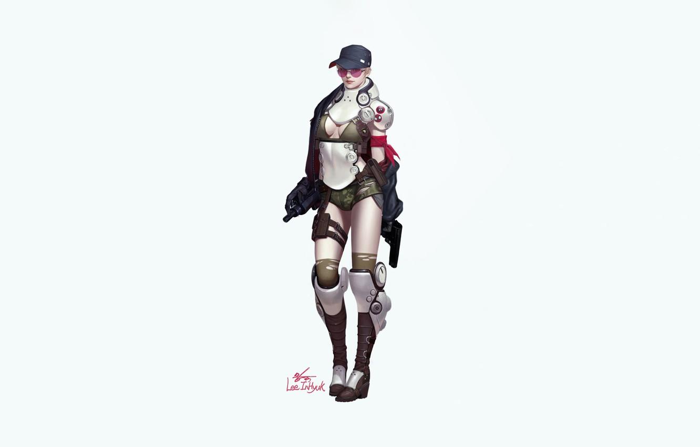 Фото обои Girl, Gun, Art, Style, Background, Weapon, Minimalism, Characters, InHyuk Lee, Military Girl