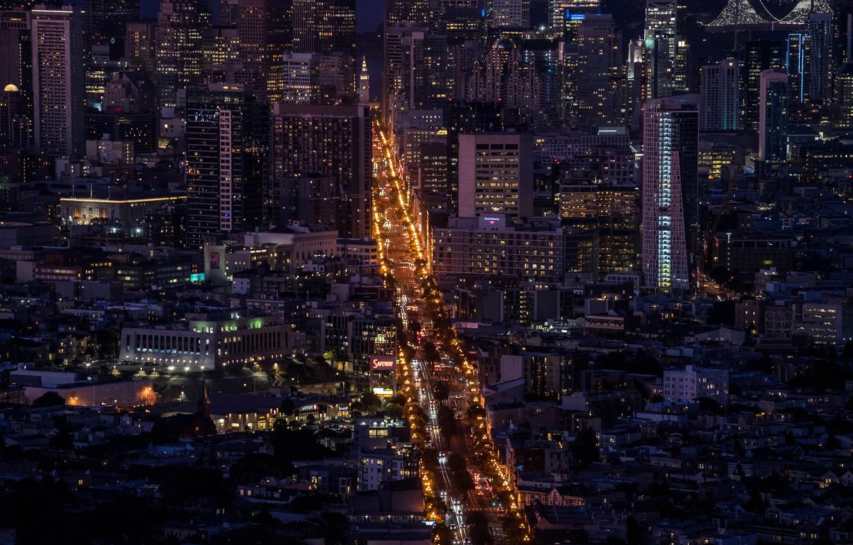 Фото обои дорога, ночь, город, огни, здания, мегаполис, вид сверху