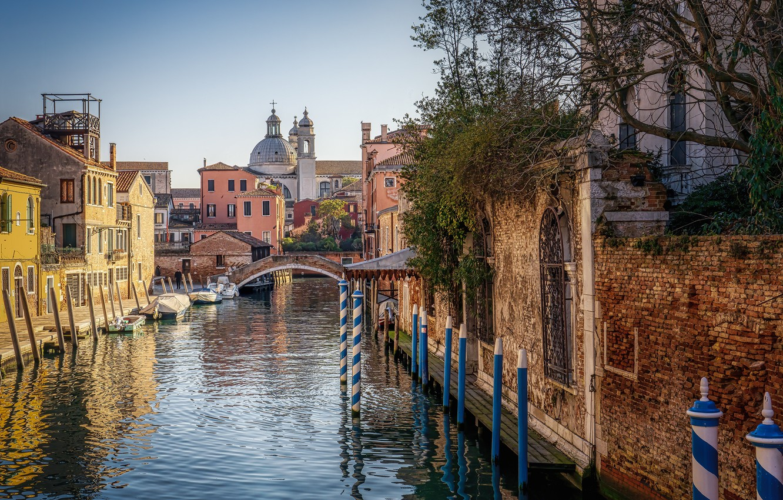 Обои канал, венеция, лодки, дома. Города foto 8