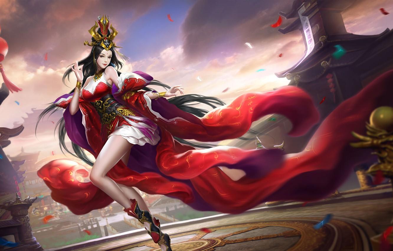 Фото обои China, Girl, Fantasy, Art, Asian, Style, Illustration, Asia, Chinese, Dress, Figure, M Z
