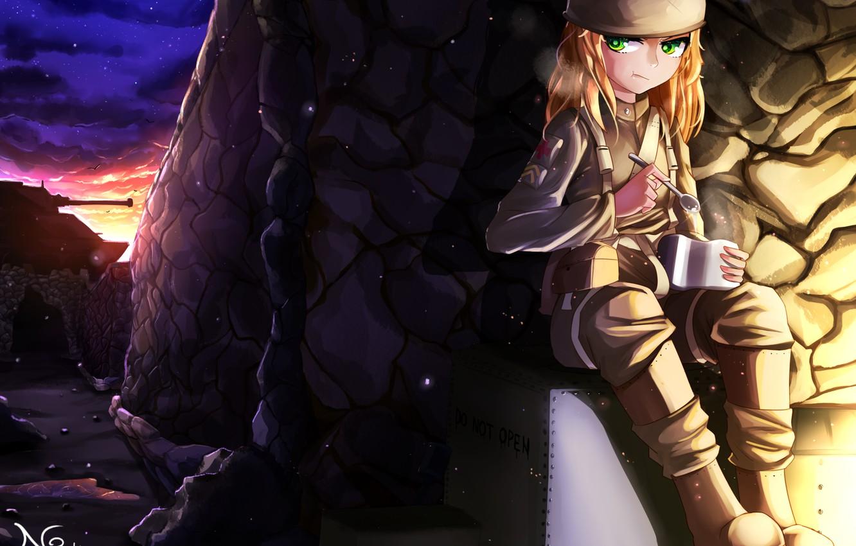 Фото обои солдат, девочка, каска