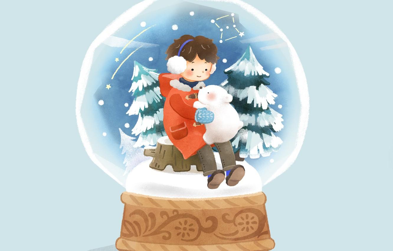 Фото обои снег, мальчик, ёлки, голубой фон, медвеженок, снежный шар, на пеньке