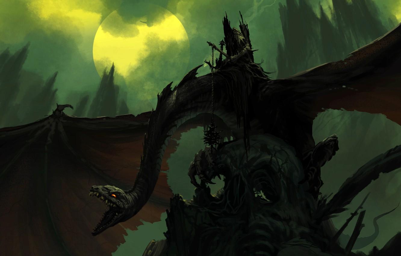 Фото обои луна, дракон, крылья, мощь, фэнтези, арт, пасть, art