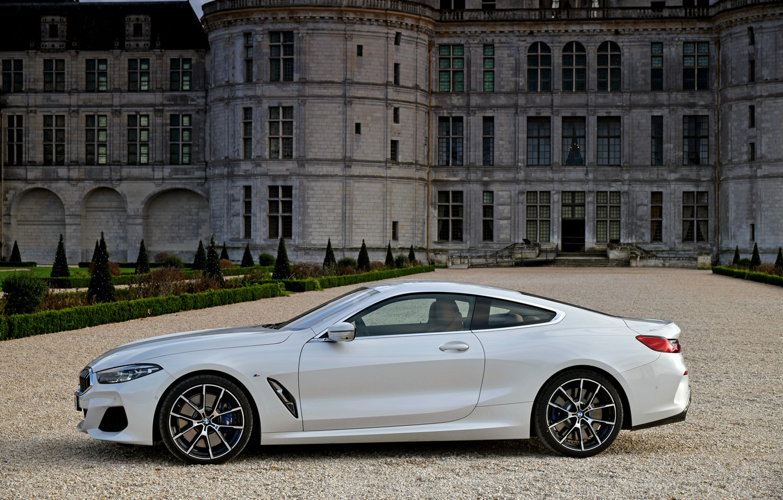 Фото обои белый, купе, BMW, вид сбоку, 2018, 8-Series, 8er, G15, 840d xDrive M Sport