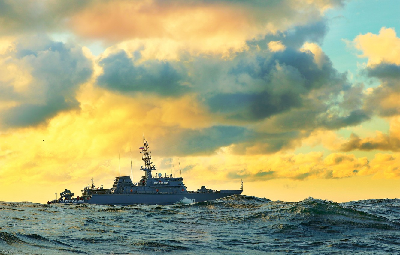 Фото море волна корабль