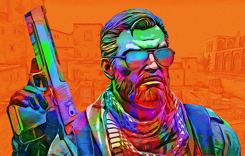 Фото обои пистолет, оружие, цвет, мужик, очки, ярко, Counter-Strike: Global Offensive