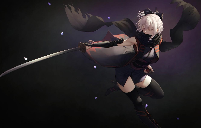 Фото обои sword, saber, flowers, katana, blonde, yellow eyes, kimono, anime girl, fate grand order, sakura saber, …