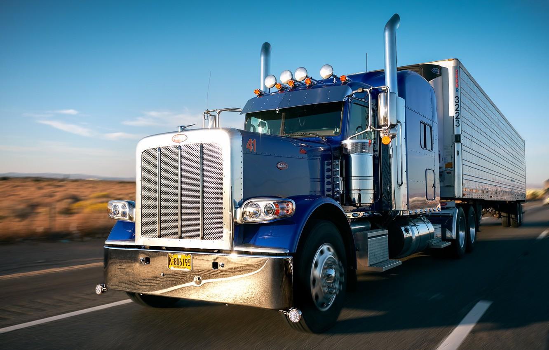 Фото обои дорога, движение, грузовик, Peterbilt