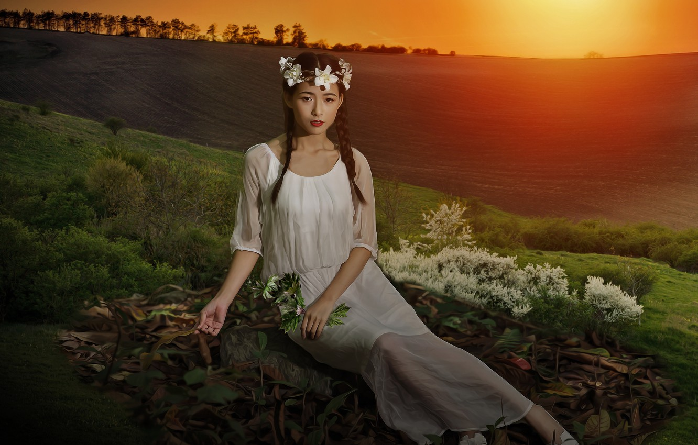 Фото обои поле, взгляд, девушка, свет, закат, цветы, природа, поза, настроение, обработка, платье, холм, луг, арт, девочка, …