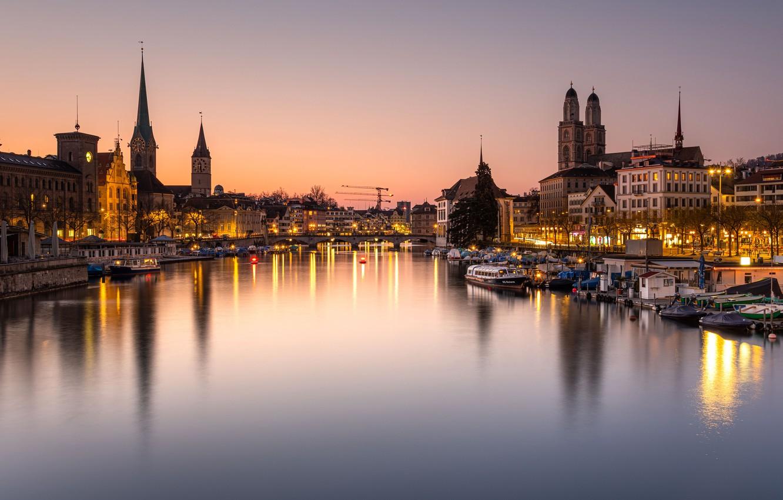 Фото обои мост, огни, река, вечер, Швейцария, набережная, Цюрих
