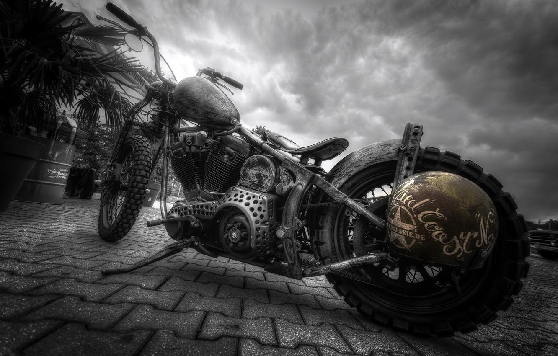 Фото обои город, улица, мотоцикл