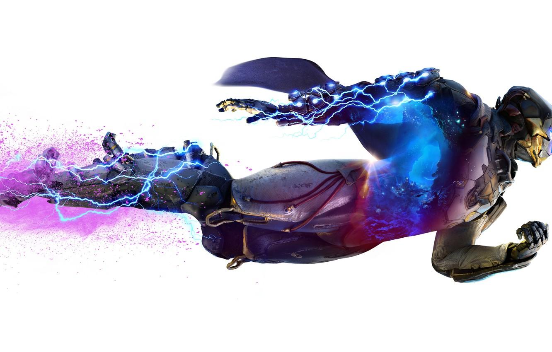 Фото обои шторм, lightning, power, bioware, Electronic Arts, Anthem, STORM, EXOSUITS, JAVELIN