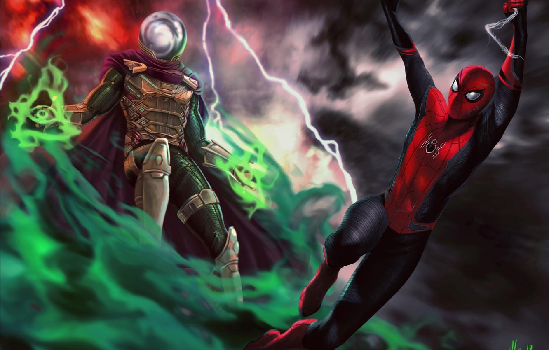 Фото обои Art, Jake Gyllenhaal, Peter Parker, Spider Man, Tom Holland, Mysterio, Spider Man:Far from home