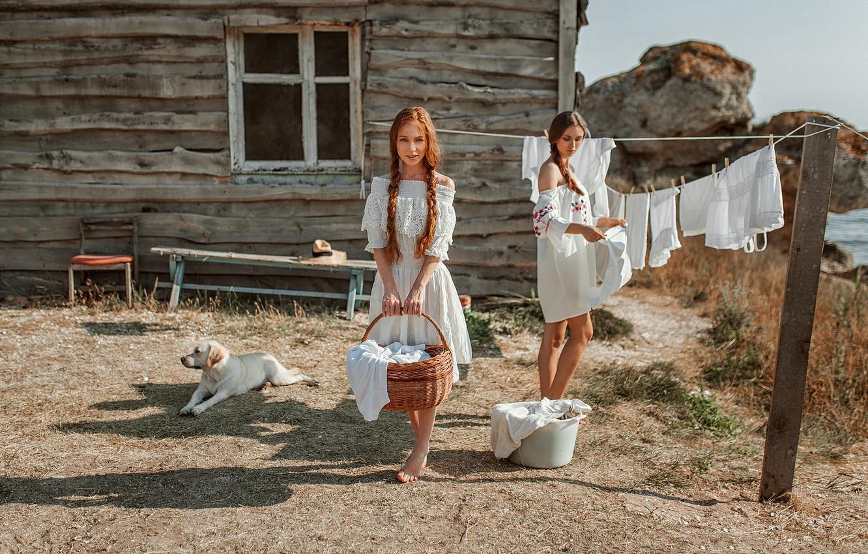 Фото обои дом, белье, собака, Девушки, Катя, стирка, Оксана, Evgeny Freyer, Евгений Фрейер