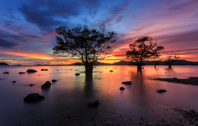 Фото обои море, волны, пляж, лето, небо, закат, берег, colorful, summer, beach, sky, sea, sunset, pink, seascape, …