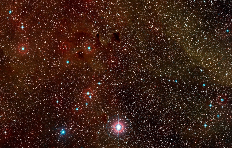 Фото обои Nebula, Constellation Vela, Digitized Sky Survey 2, Wide-field view, Dust clouds, HH 47, Herbig-Haro, HH …