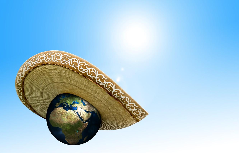 Фото обои солнце, жара, планета, шляпа, изменение климата, потепление