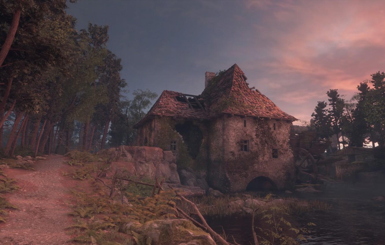 Фото обои река, мельница, водяная мельница, a plague tale: innocence