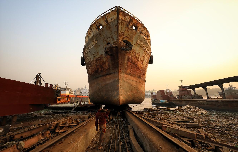 Фото обои корабль, порт, верфь
