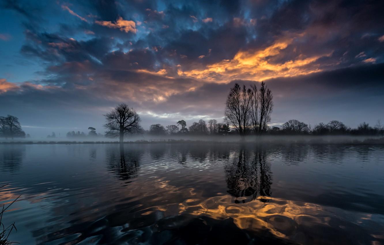 Фото обои небо, ночь, туман, река