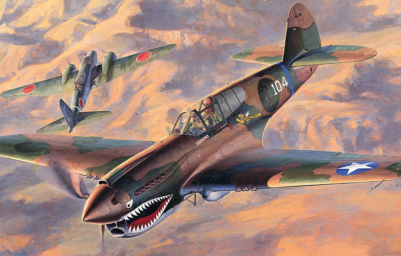 Обои американский, p-40, warhawk, kittyhawk, tomahawk, curtiss, Самолёт. Авиация foto 15