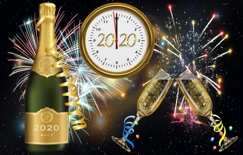 Фото обои Новый год, фейерверк, циферблат, шампанское, фужеры, 2020