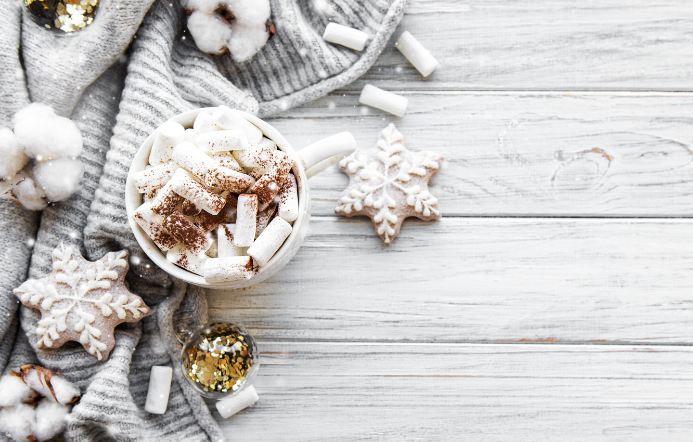 Фото обои снег, украшения, Рождество, кружка, Новый год, new year, Christmas, винтаж, winter, snow, свитер, какао, cookies, …