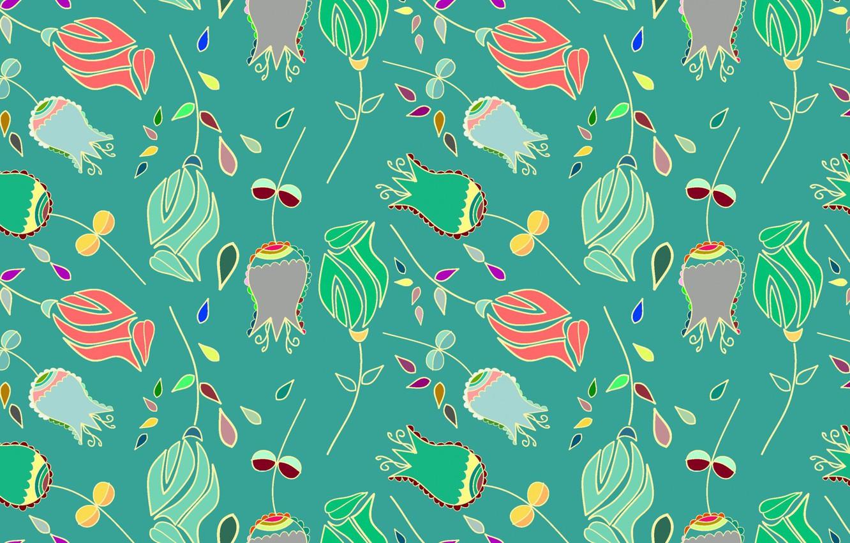 Фото обои цветы, зеленый, фон, текстура, бутоны, texture, color