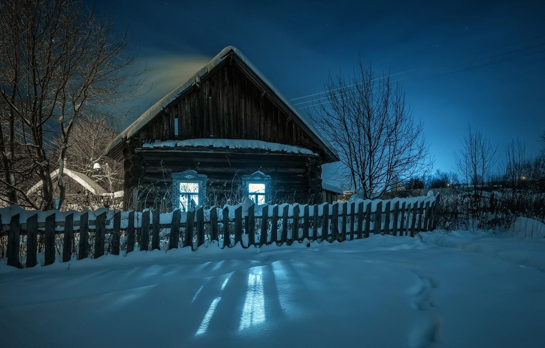 Фото обои зима, свет, снег, пейзаж, ночь, природа, дом, забор, деревня, Пермь, Андрей Чиж