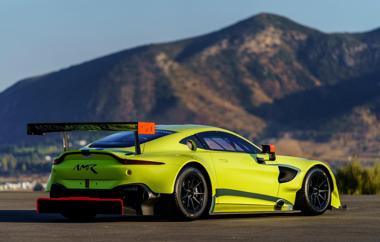 Фото обои Aston Martin, Vantage, гоночное авто, вид сзади, 2018, GTE