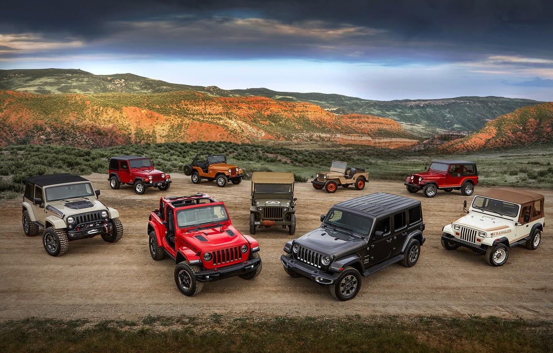 Фото обои Jeep, Willys, Wrangler Rubicon, Wrangler Sahara, CJ-5, CJ-2A, Wrangler TJ, Wrangler Renegade