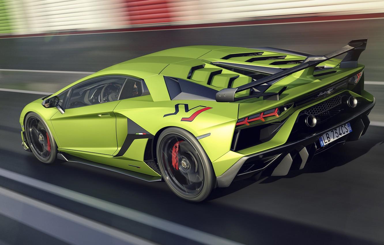 Фото обои скорость, Lamborghini, суперкар, вид сзади, 2018, Aventador, SVJ, Aventador SVJ