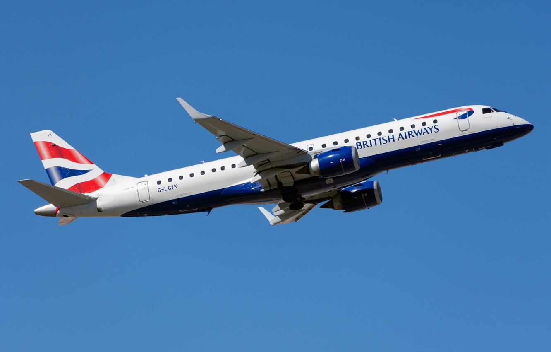 Фото обои лайнер, British Airways, Embraer, ERJ-190