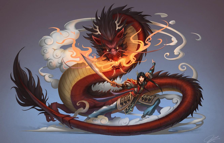 Фото обои Девушка, Дракон, Стиль, Fantasy, Арт, Asian, Фантастика, Female, Мулан, Mulan, Chinese, Китайский Дракон, by Jue …