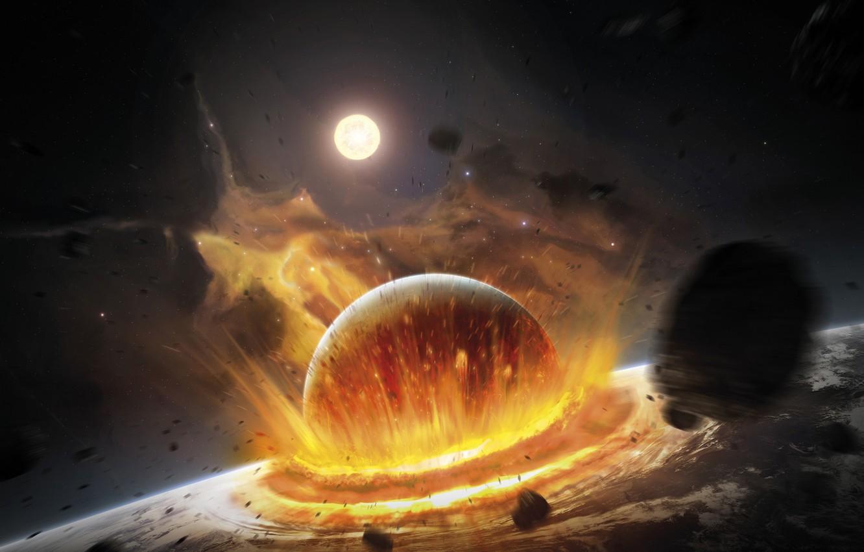 Фото обои пространство, планета, катастрофа, удар, столкновение