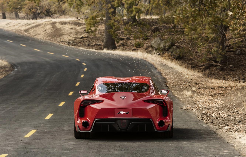 Фото обои дорога, красный, купе, Toyota, корма, 2014, FT-1 Concept