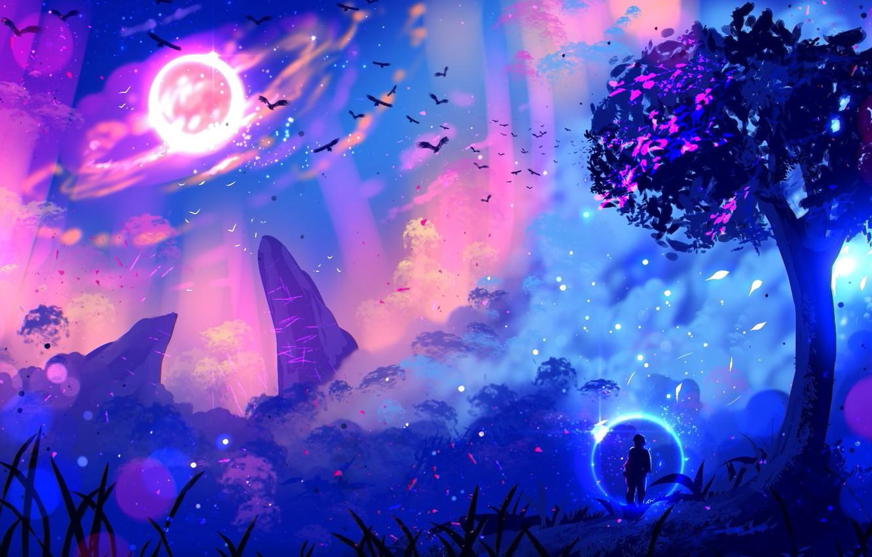 Фото обои lights, огни, дерево, скалы, свечение, другие миры, путник, glow, rocks, tree, стая птиц, fantasy art, …
